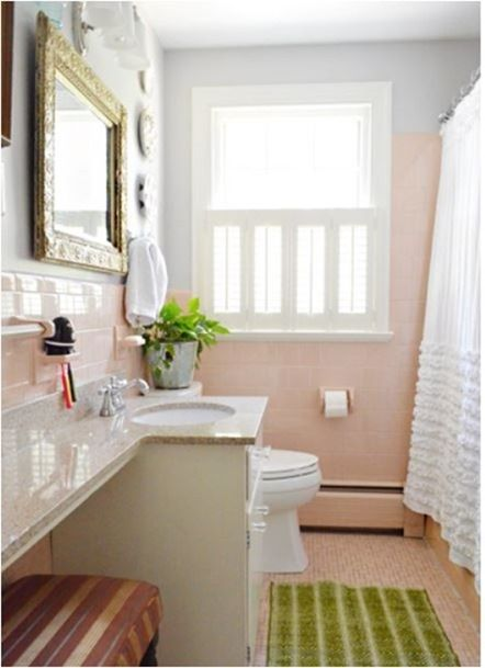 Solutions For Renters Bathrooms Centsational Style Retro Pink Bathroom Pink Bathroom Tiles Pink Bathroom