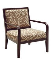 Sure to add an exotic feel to any room, this chair's vibrant print will draw all of the attention. A generously padded seat and back make it as comfortable as it is beautiful.25.5'' W x 32.5'' H x 28.25'' DWood / stainless steel / glassImported