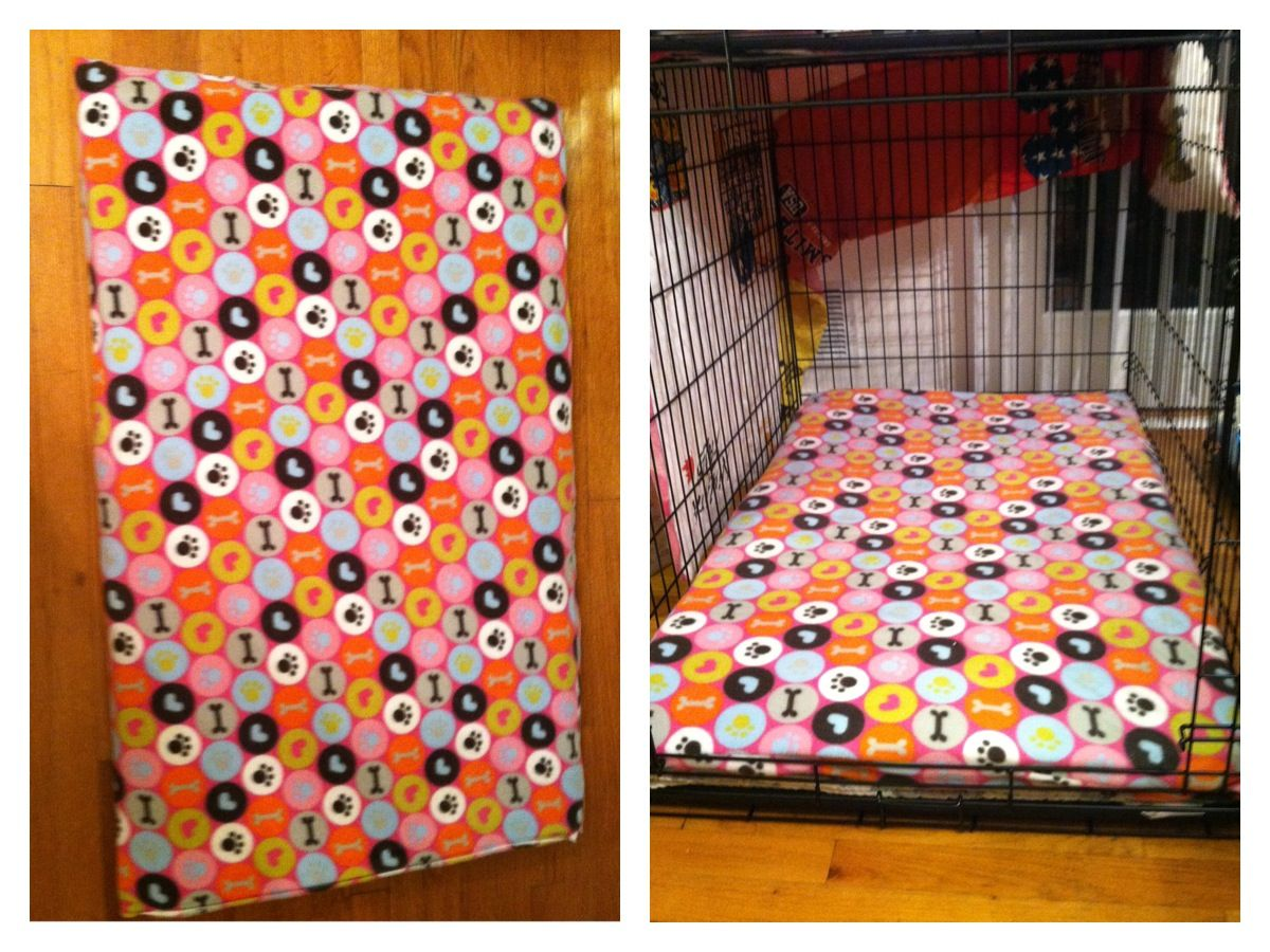 Diy Dog Bed For Crate Size Xl For 42 Crate 1 Yard Fleece Fabric 11 99 Hobby Lobby W 30 Off 1 Foam Mattress Pad Diy Dog Stuff Diy Dog Bed Dog Bed