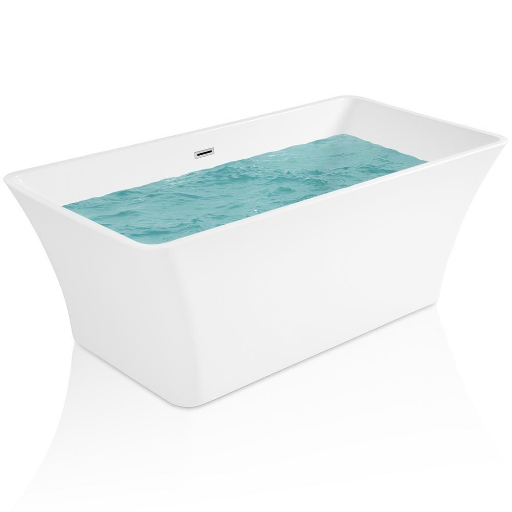 Akdy 66 93 In Acrylic Center Drain Rectangular Double Ended Flatbottom Freestanding Bathtub In White Bt0066 Bathtub Tub Soaking Bathtubs