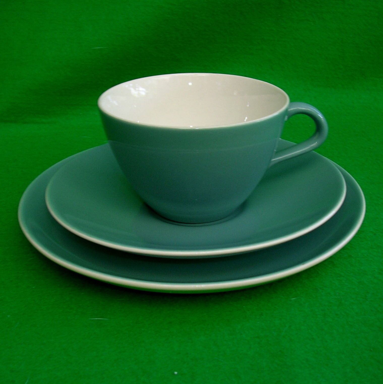 Poole Pottery Blue Moon Teacup Saucer and side plate Trio Vintage Pre 1968   eBay