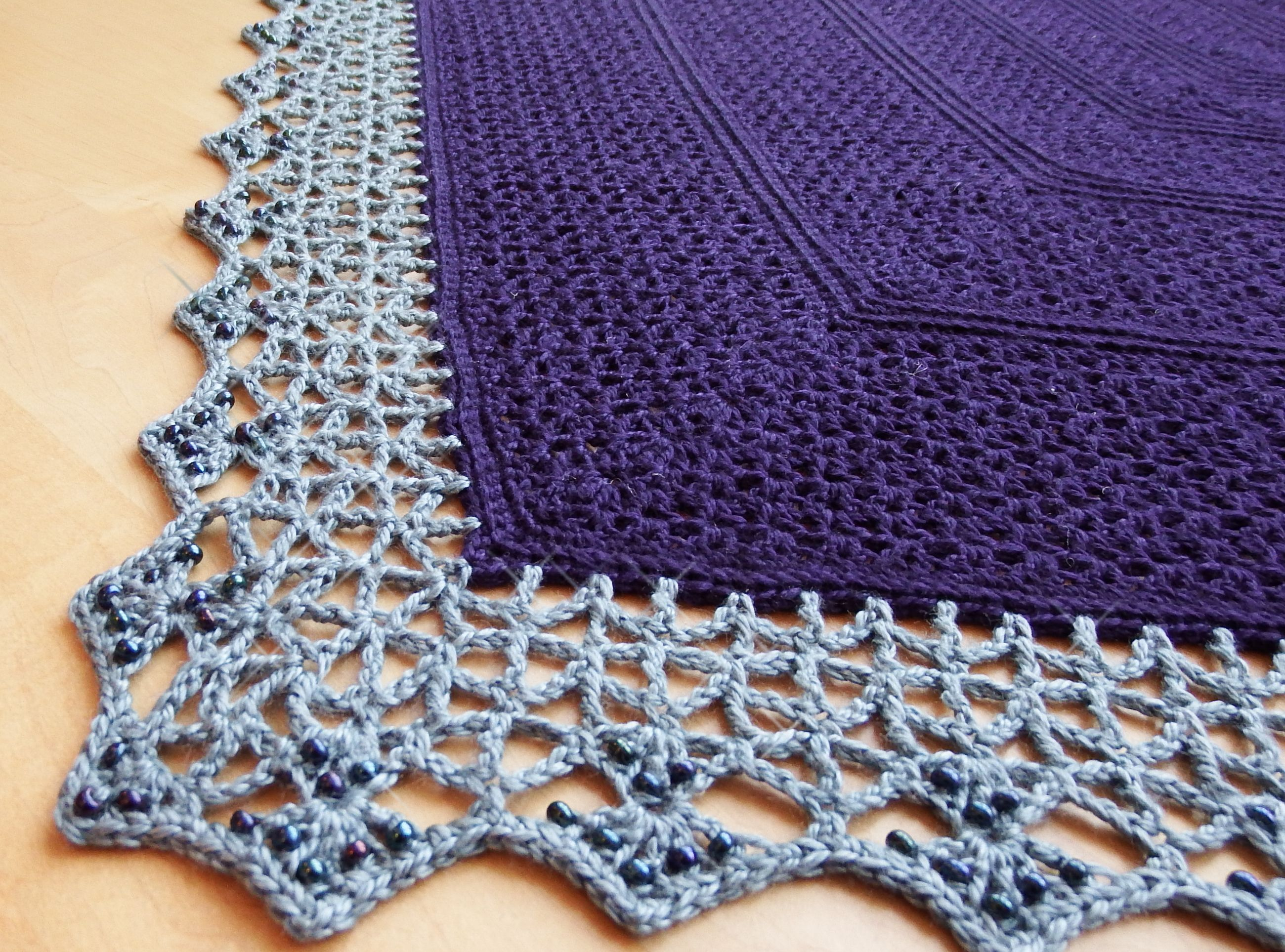 Atlantic Lace Shawl With Beaded Edge Free Crochet Pattern From