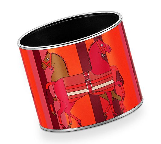 "Nouveau Rocabar  Hermes mega wide printed enamel bracelet    Palladium plated, 1.5"" wide, 2.5"" diameter"