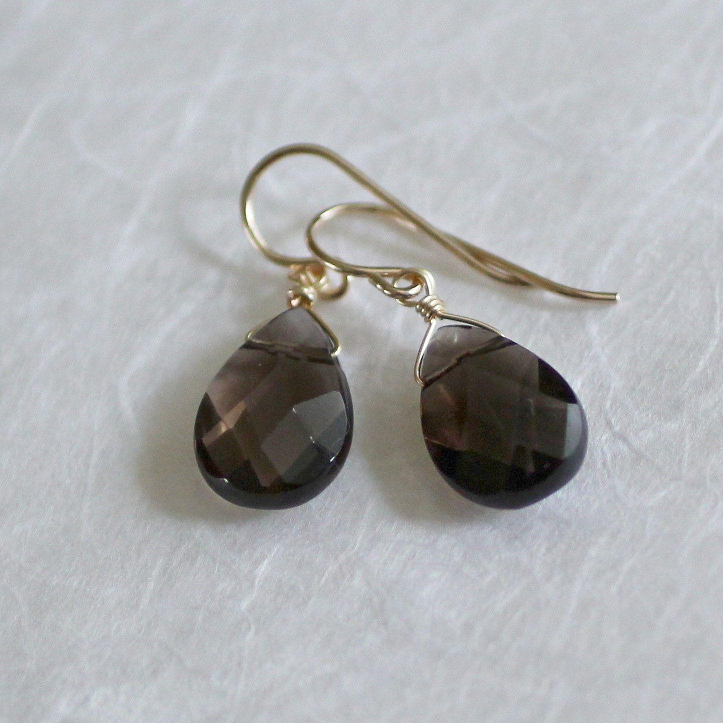 Smoky Quartz Earrings-Smoky Quartz Teardrop Earrings-Smoky Quartz Teardrops-Smoky Quartz Drop Earrings-Dangle Earrings-Brown-Gifts Under 40 #smokyquartz