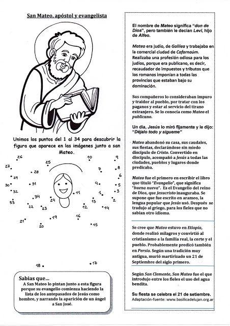 El Rincón De Las Melli Breve Historia De San Mateo Apóstol Con Juego Milagros De Jesús San Mateo Apostol Lecciones De La Biblia