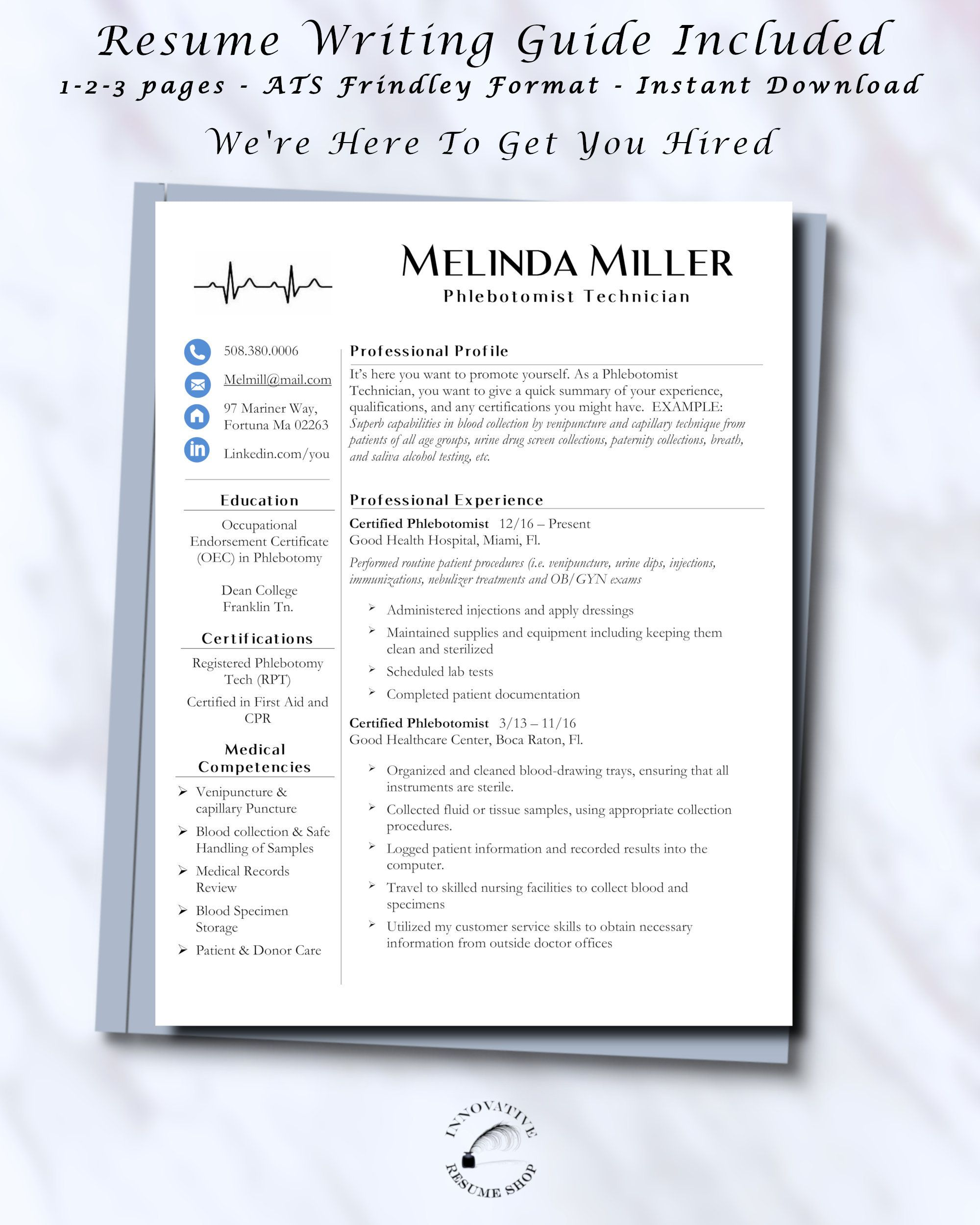 Phlebotomist Tech Medical Asst Resume Template With Etsy Medical Assistant Resume Resume Good Resume Examples