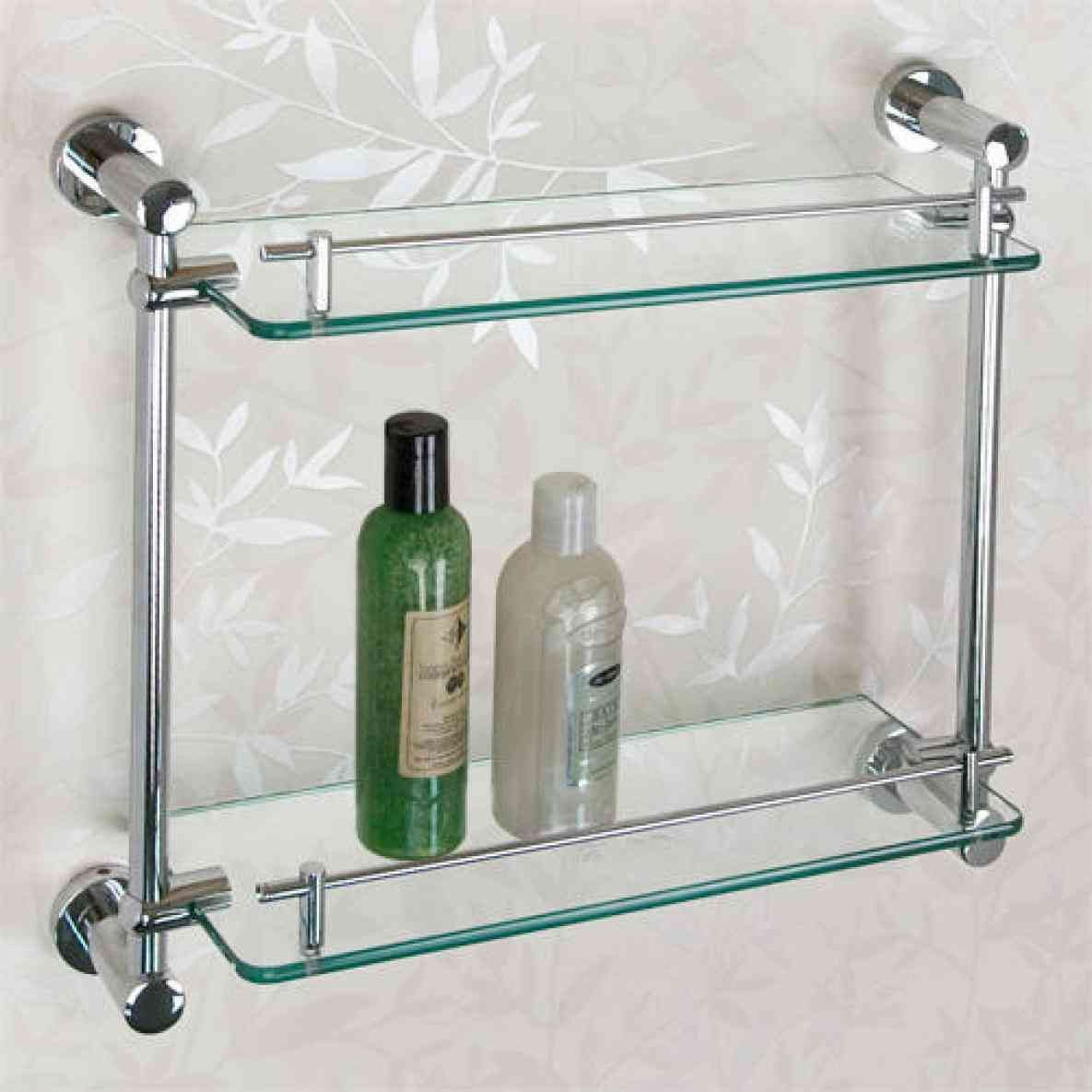 New Post Brushed Nickel Bathroom Shelving Unit