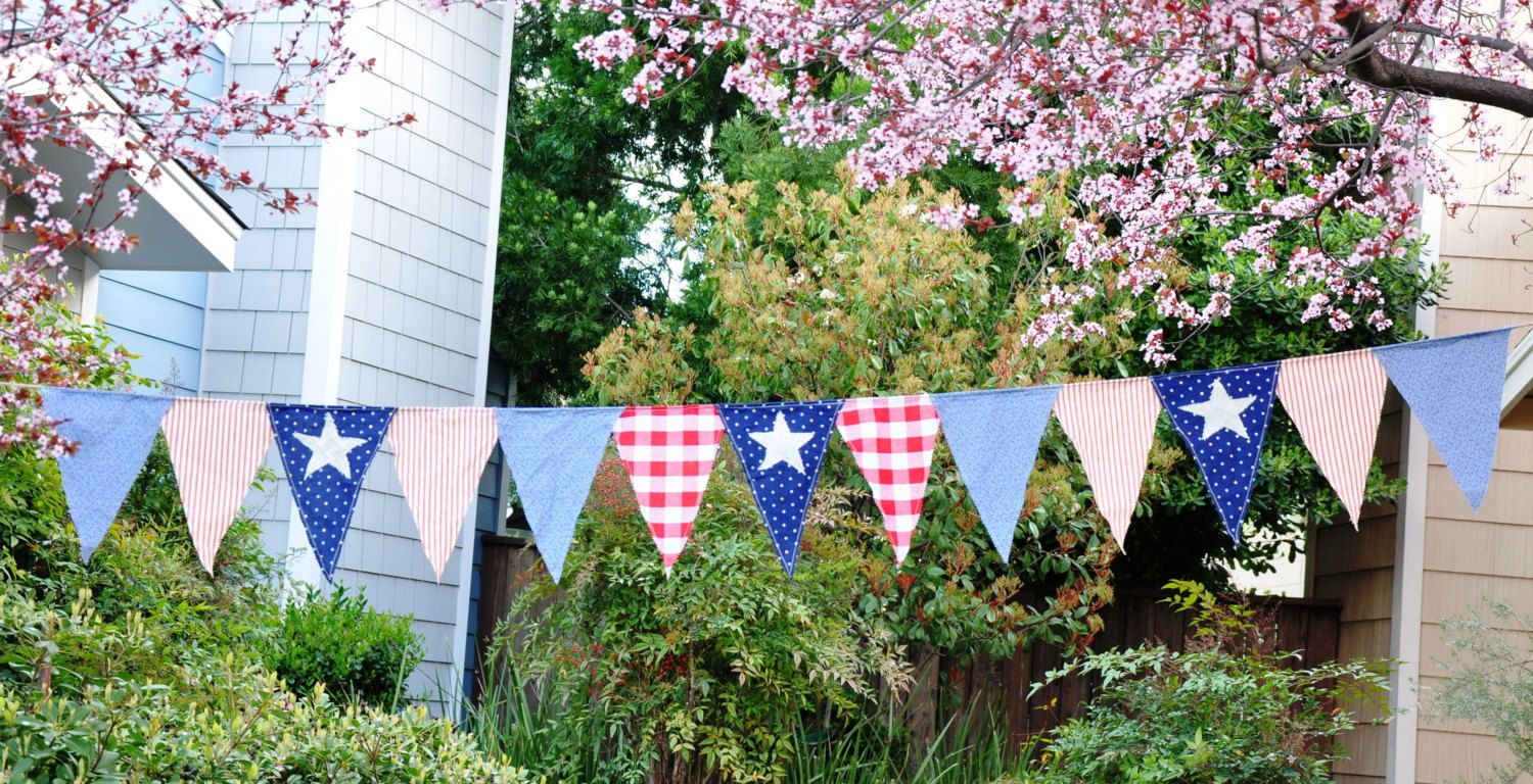 11 Foot Bunting, Country Style Flags, USA, Patriotic Bunting, Red, White, and Blue with Burlap Stars by RainieGarden on Etsy