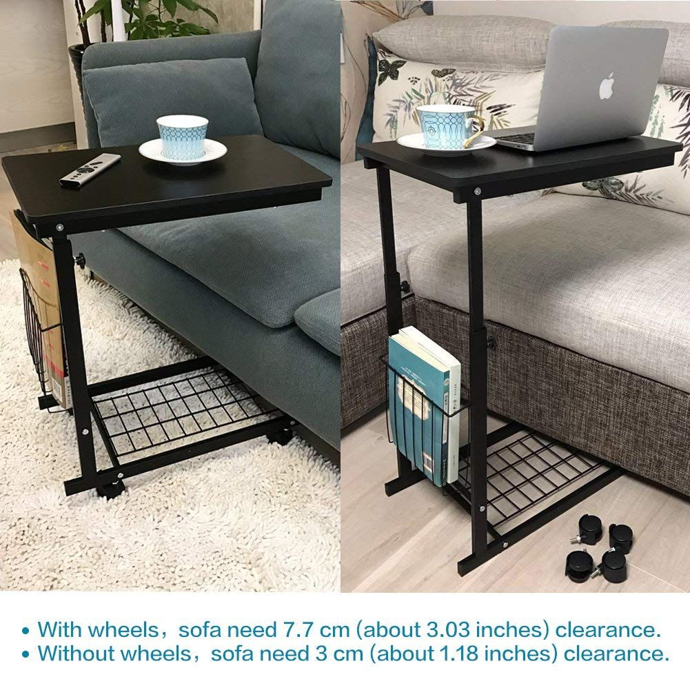 Micoe Wheels Storage Shelves Adjustable In 2020 Sofa Side Table Couch Table Table