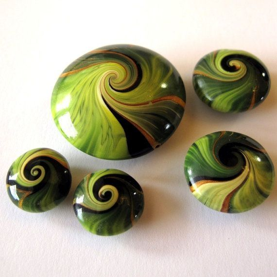 Spring Green Lentil Beads by Claybykim on Etsy, $10.50 These are gorgeous! by Karenay