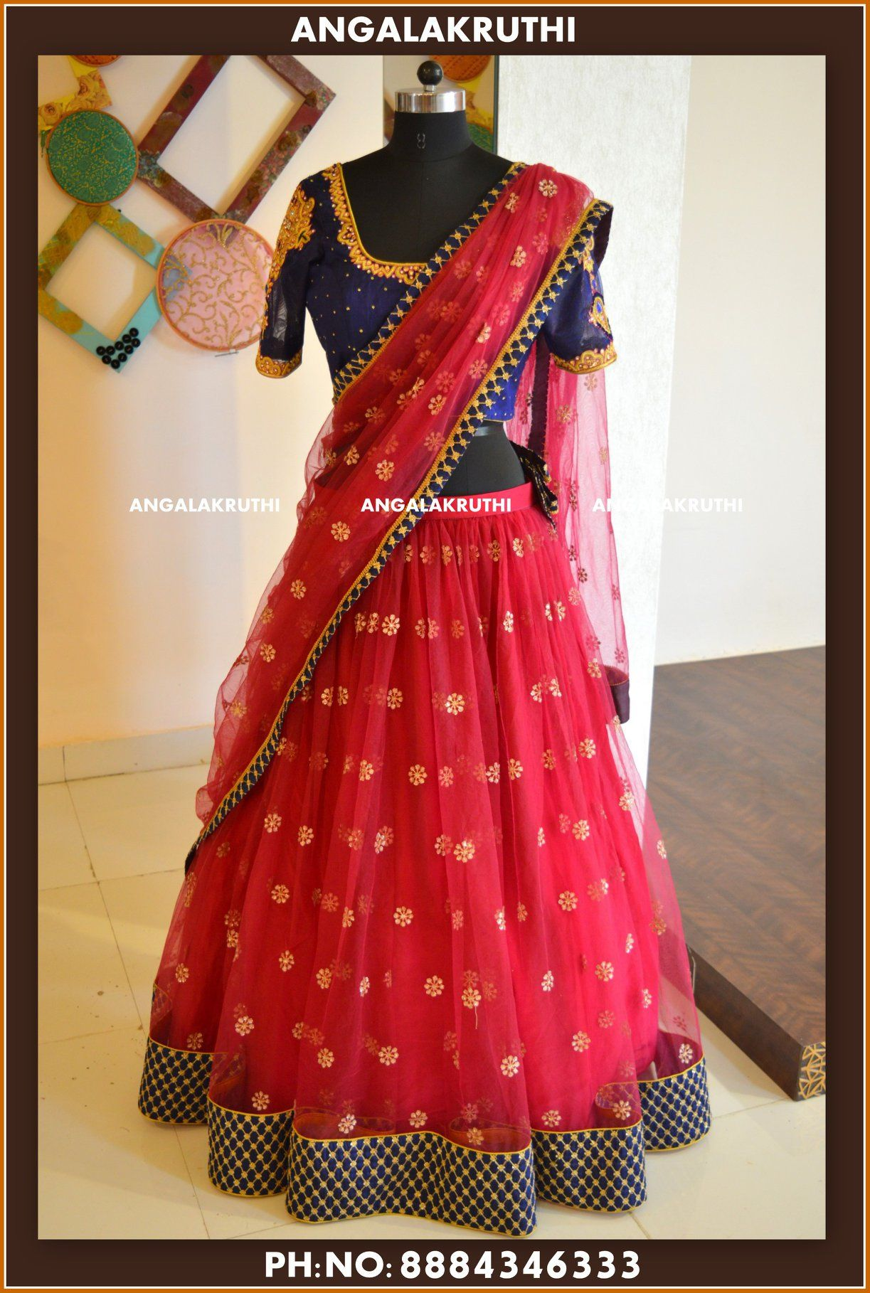 e3e7c93a08 Beautiful paradise pink and blue color combination lehenga and blouse with  net dupatta. Blouse with hand embroidery thread work. 31 August 2018