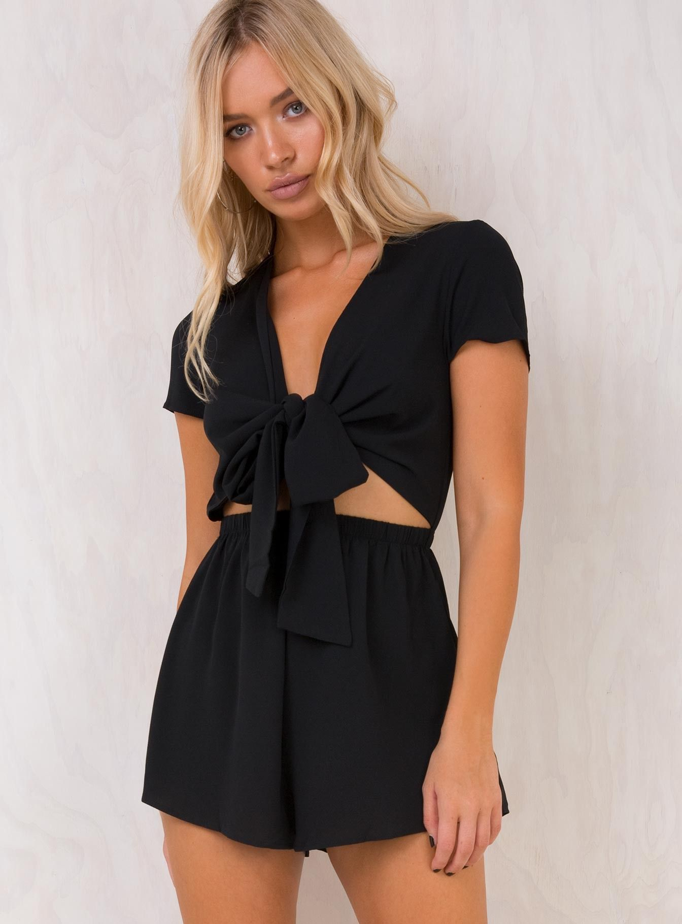 f8fab9565a0 Black+Sweet+Sahara+Tie+Front+Playsuit+-+ Tie+front+playsuit Exclusive+to+ Princess+Polly Plunge+neckline+with+tie Elasticated+waist ...