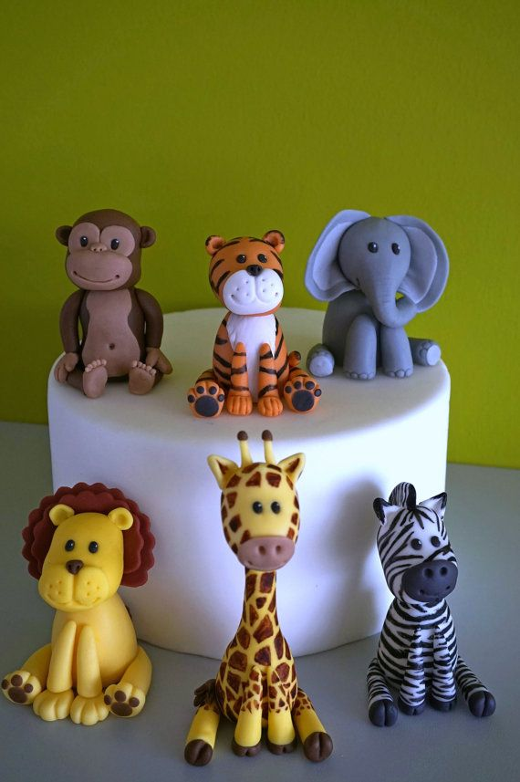 Pâte de Sucre Gâteau Toppers jungle animaux elephant hippo Singe Lion Girafe
