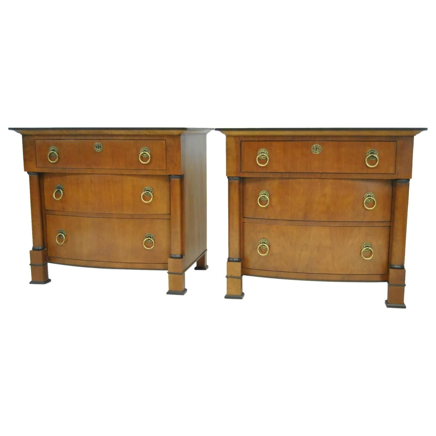 pair of henredon french empire threedrawer night stands or end tables. pair of henredon french empire threedrawer night stands or end