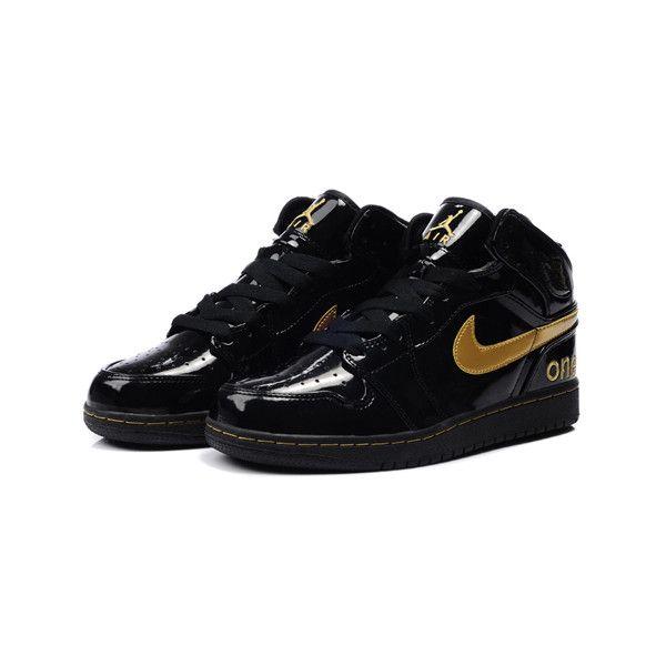 new concept 0c4cd 4296e TOP A+ Nike Air Jordan 1 Sneakers Black Gold TAJ1-001 ❤ liked on Polyvore