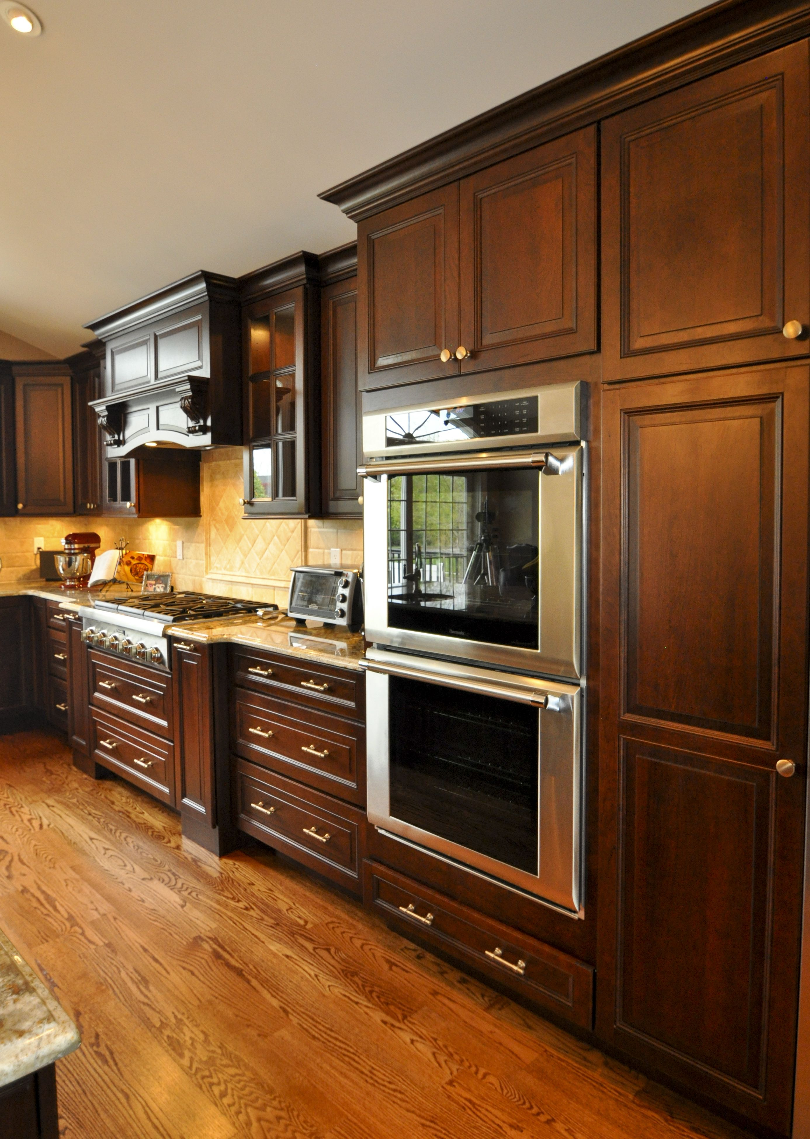 """double wall ovens, 36"""" gas cook top, in cabinet lighting"""