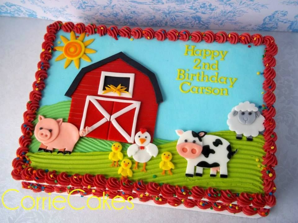 Fun Cake At An Animal Farm Birthday Party See More Party Ideas At