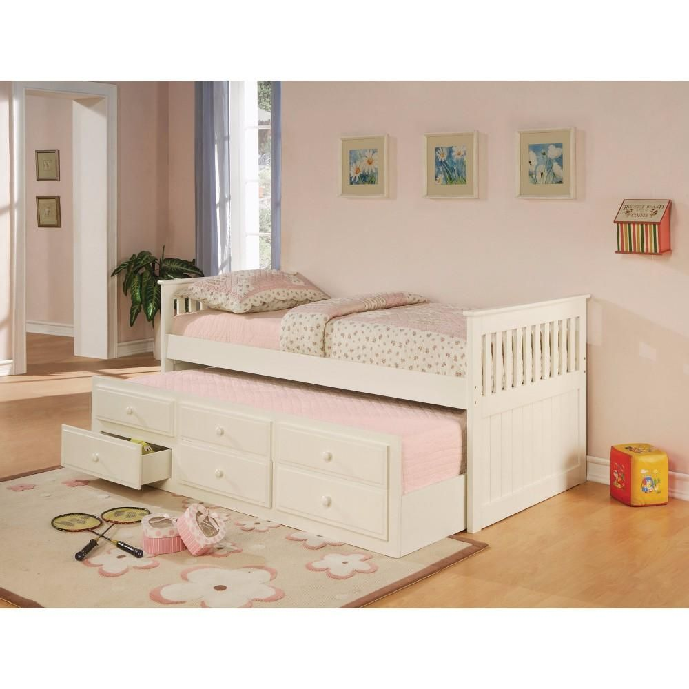 Stylish Daybed Bed With Trundle And Storage Drawers White