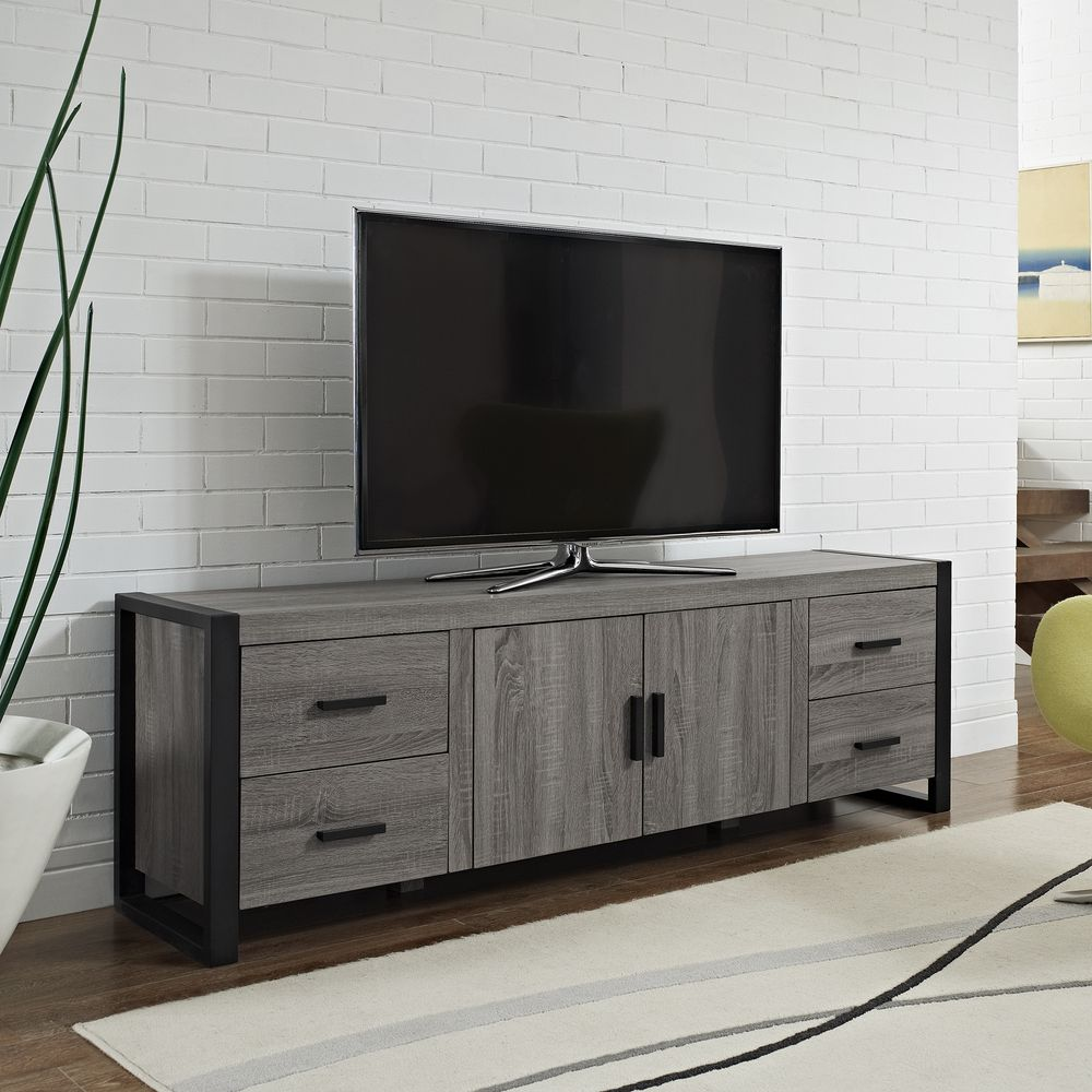 70inch urban blend ash grey wood tv stand shopping