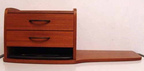 Perfect Design Telefon Wand Regal Made In Denmark Teak 2 Schubladen Danish Modern |  EBay