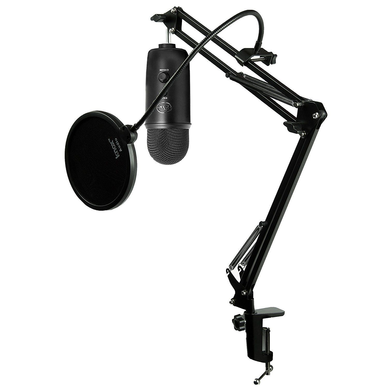 Blue Microphones Blackout Yeti Mic W Knox Mic Desktop Boom Arm And - Desk boom mic stand