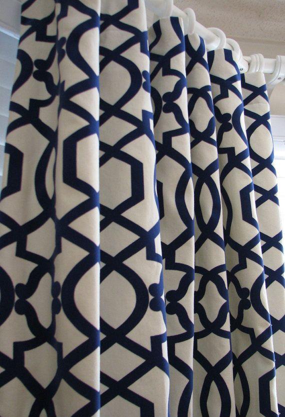 Pair Of Decorative Designer Custom Curtains Drapes Navy On Cream Lattice 50 X 96 With Velvet Deta Designer Shower Curtains White Shower Curtain Custom Curtains