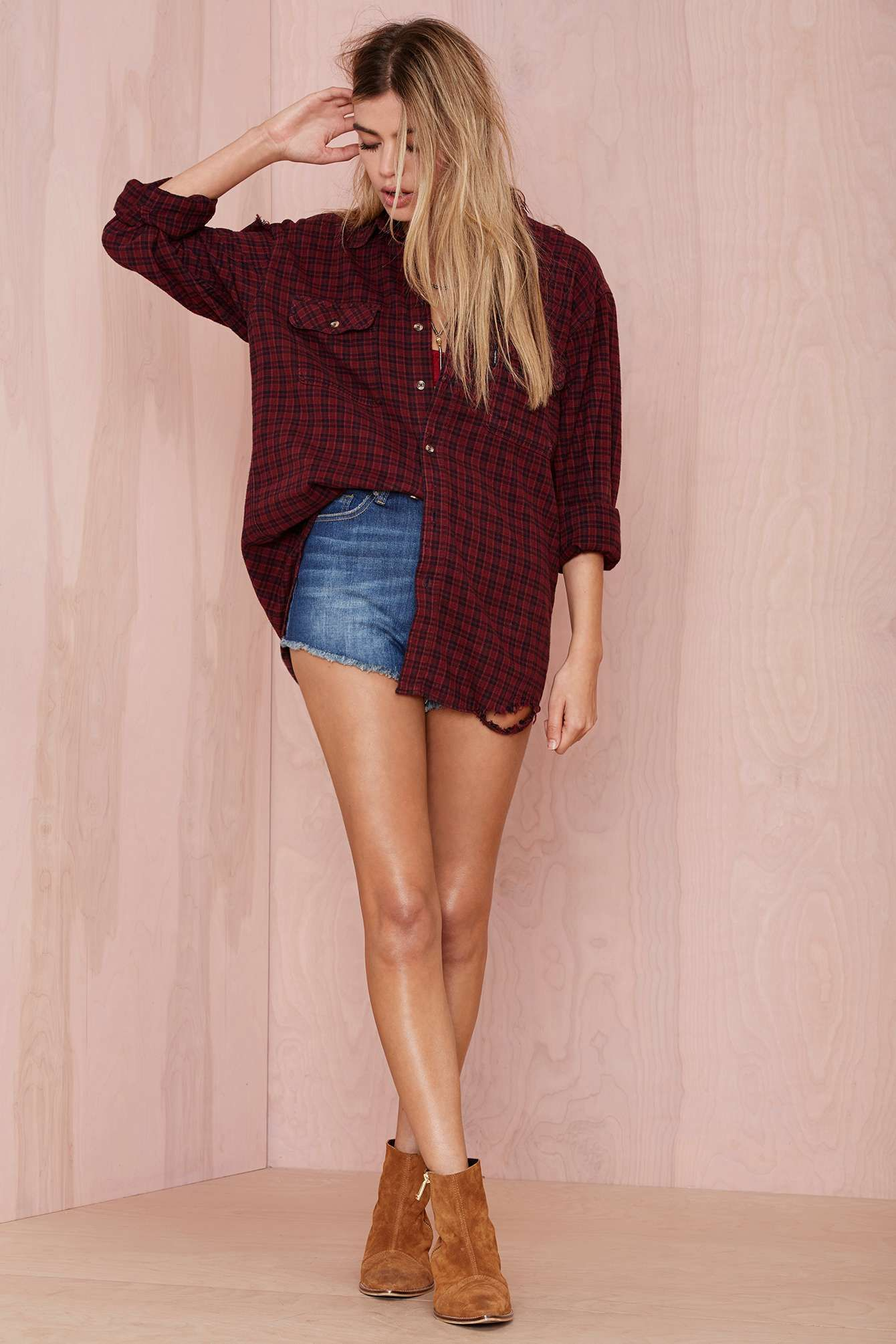 Flannel outfits around waist  After Party Vintage Surefire Distressed Flannel  Shop Tops at Nasty