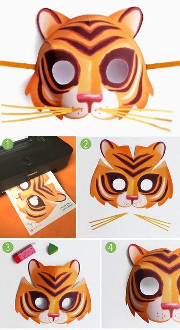 Easy to make printable tiger mask - Animal mask templates ...