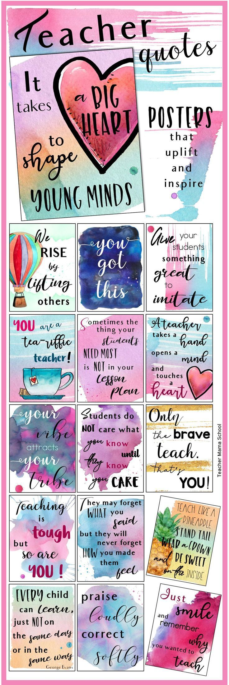 Teacher Quotes Posters to uplift, inspire and motivate teachers! In a beautiful watercolor theme