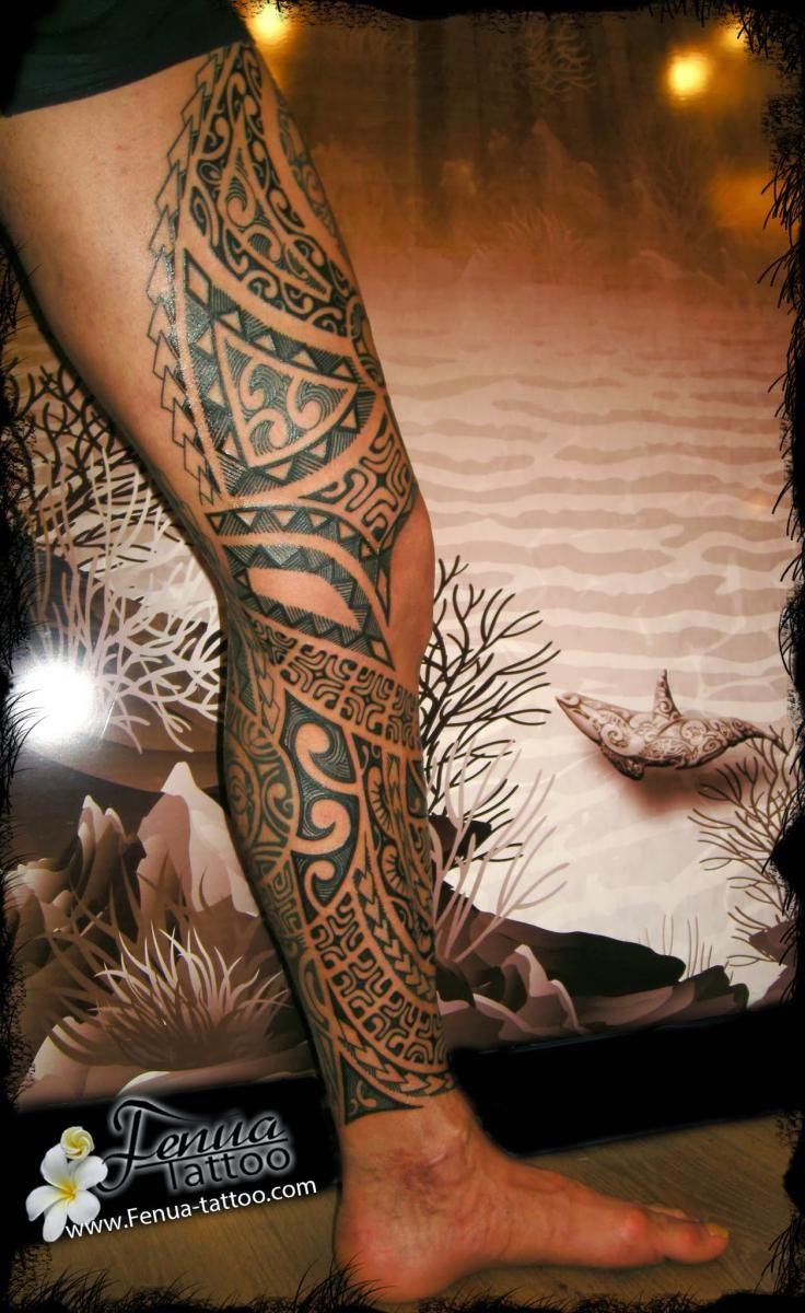 Bracelet Polynésien Tatouage tout tatouage polynésien sur la jambe et cuisse homme | tatoo and tattoo