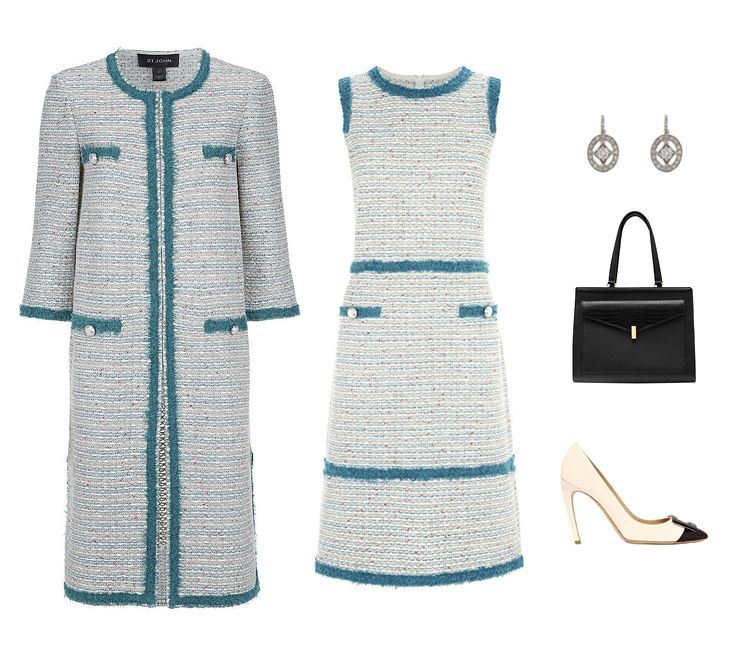 St John Tweed Topper Coat 2 080 Harrods A Line Dress 1 215 Cathy Waterman Diamond And Platinum Oval Frame Earrings