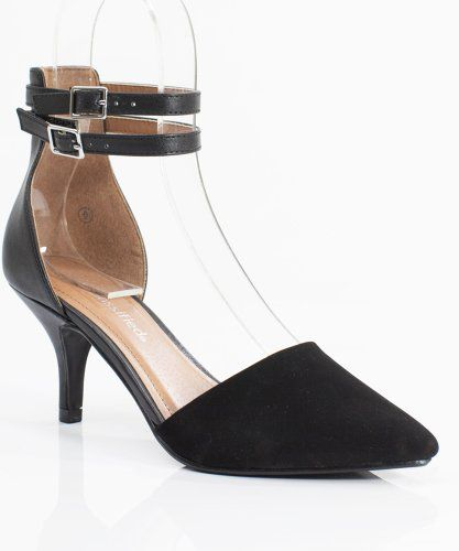 49c6cc24938c  hot City Classified Tatum-H Kitten Heel Pointy Toe Wrap Around Ankle Strap  Single Heel Pump BLACK (9)