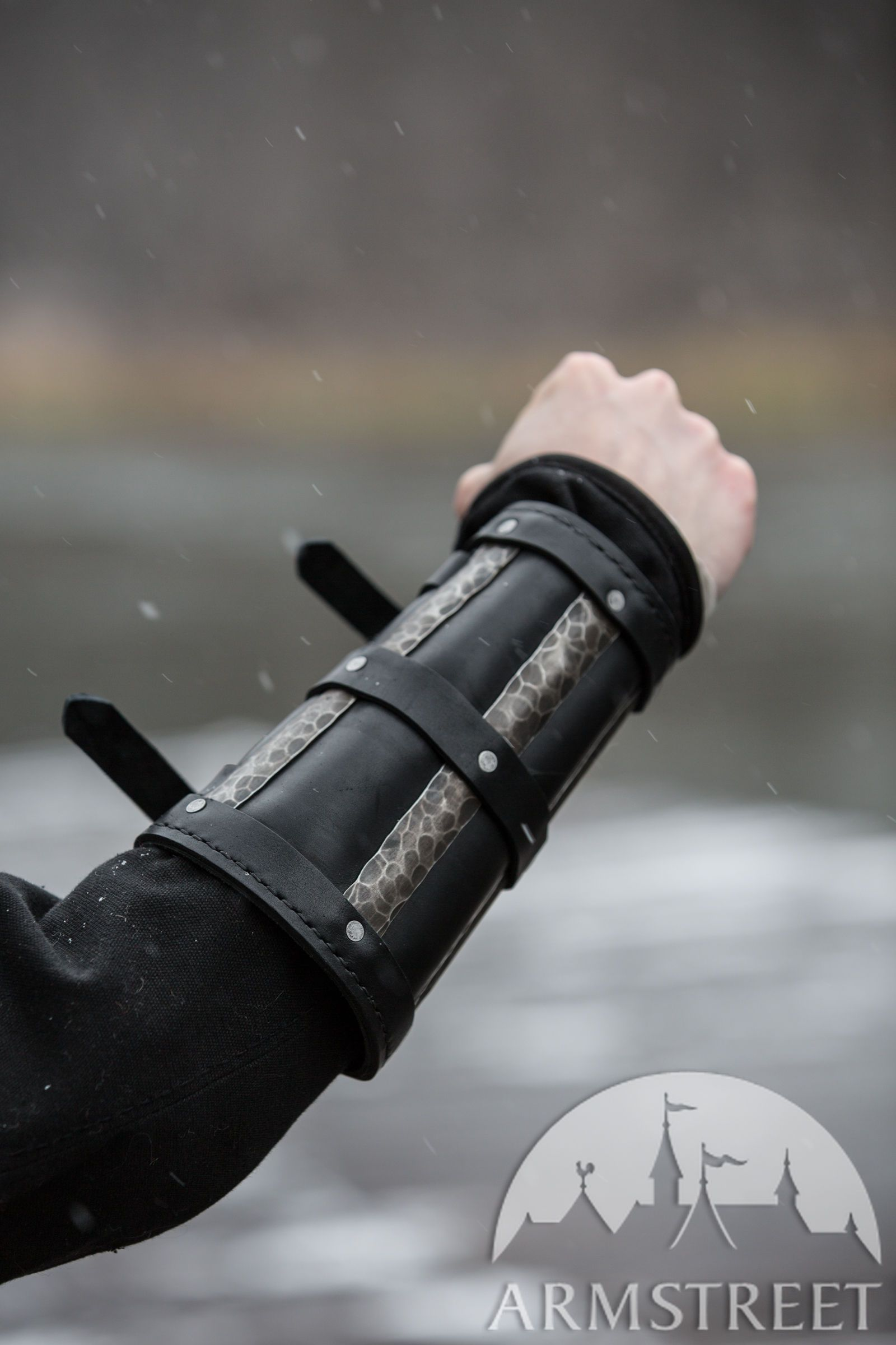 Leather Studded Medieval Bracer Pair Gauntlet Arm Guard LARP Armour SCA