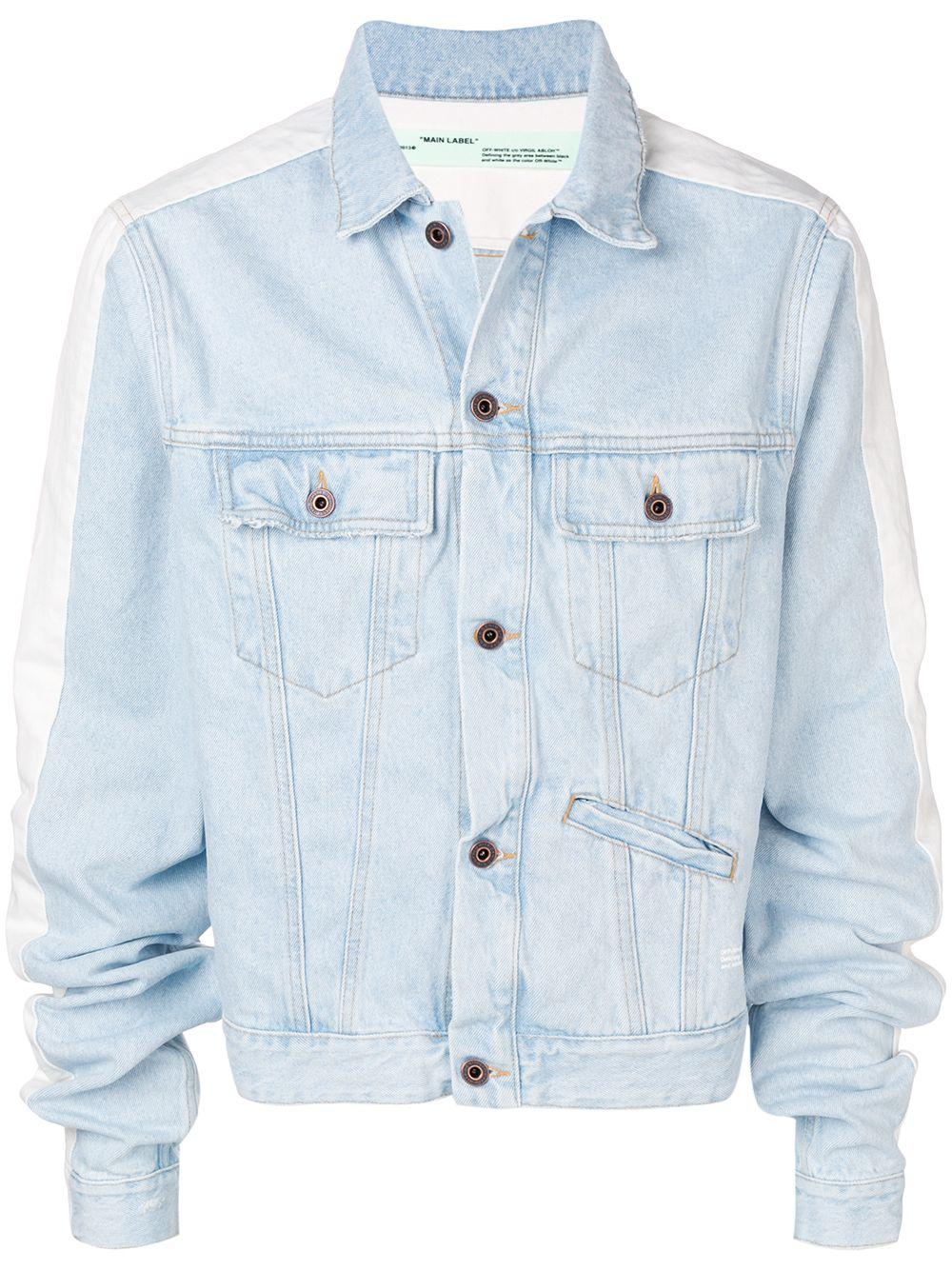 Off White Contrast Panel Denim Jacket Blue Modesens Denim Jacket Jackets Denim Women [ 1334 x 1000 Pixel ]