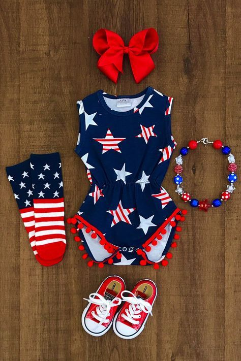 bc5b8c695 Shoot for the Stars Pom Pom Romper. Great for a 4th July outfit! baby Girl  ...