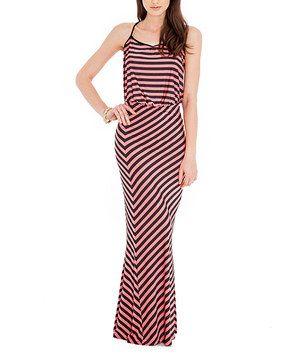 City Goddess Coral & Black Stripe Maxi Dress by City Goddess #zulily #zulilyfinds