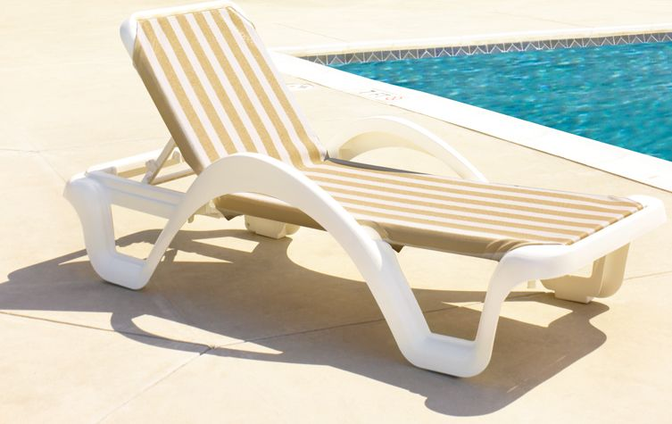 Catalina Commercial Sling Chaise Lounge Khaki Stripe Pool