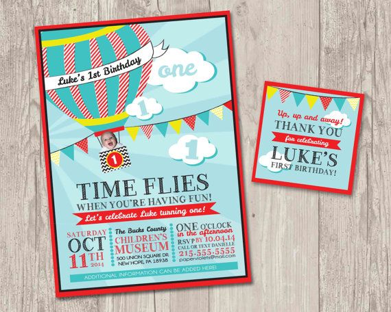 DIY Printable Time Flies Hot Air Balloon Invitations With FREE Matching Thank You Tags For Your Little One Who Is