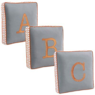 Letter Square Throw Pillow In Grey Bedbathandbeyond Com