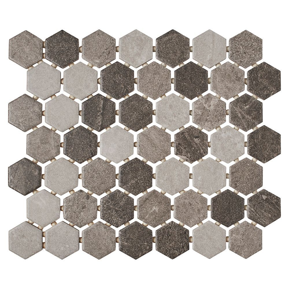 Quartzite Multi Grey 10 Inch X 12 Inch X 6 Mm Ceramic Hexagon Mosaic Tile 0 81 Sq Ft Piece Hexagon Mosaic Tile Hexagonal Mosaic Tile Stained