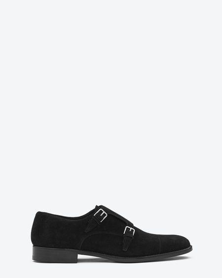 e11d73d1052f8 Check out Classic Saint Laurent Double Buckle Shoe in Black Suede at http