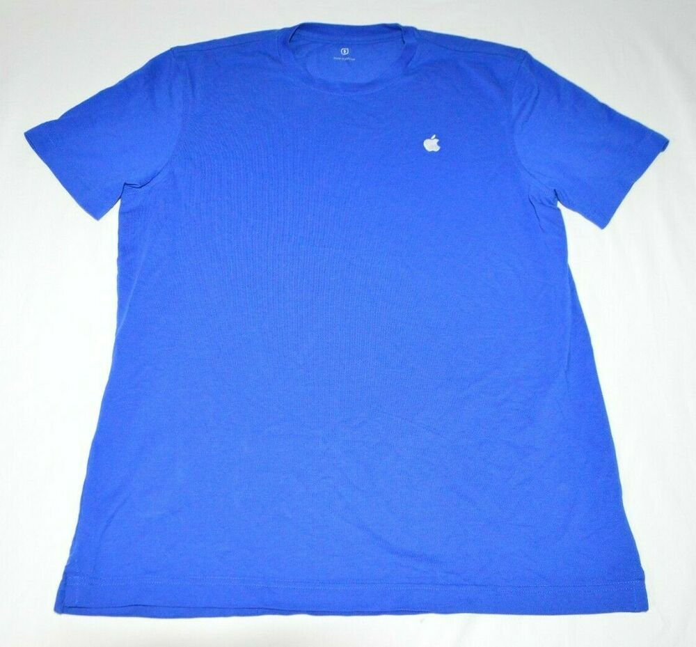 Employee Blue Men S T Shirt Apple Adult Store Size Short Sleeve Work MVqSpUzG