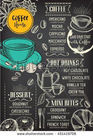 Coffee restaurant brochure vector, coffee shop menu design Vector - coffee menu