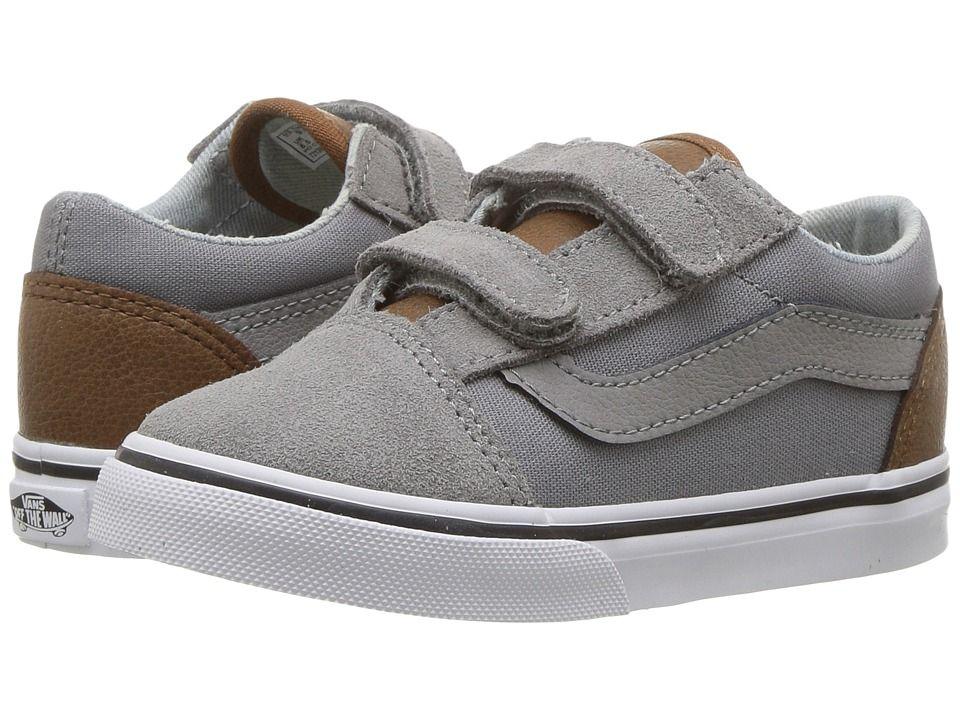 Vans Kids Old Skool V (Toddler) Boys Shoes (C L) Frost Gray Acid Denim 58e571f01