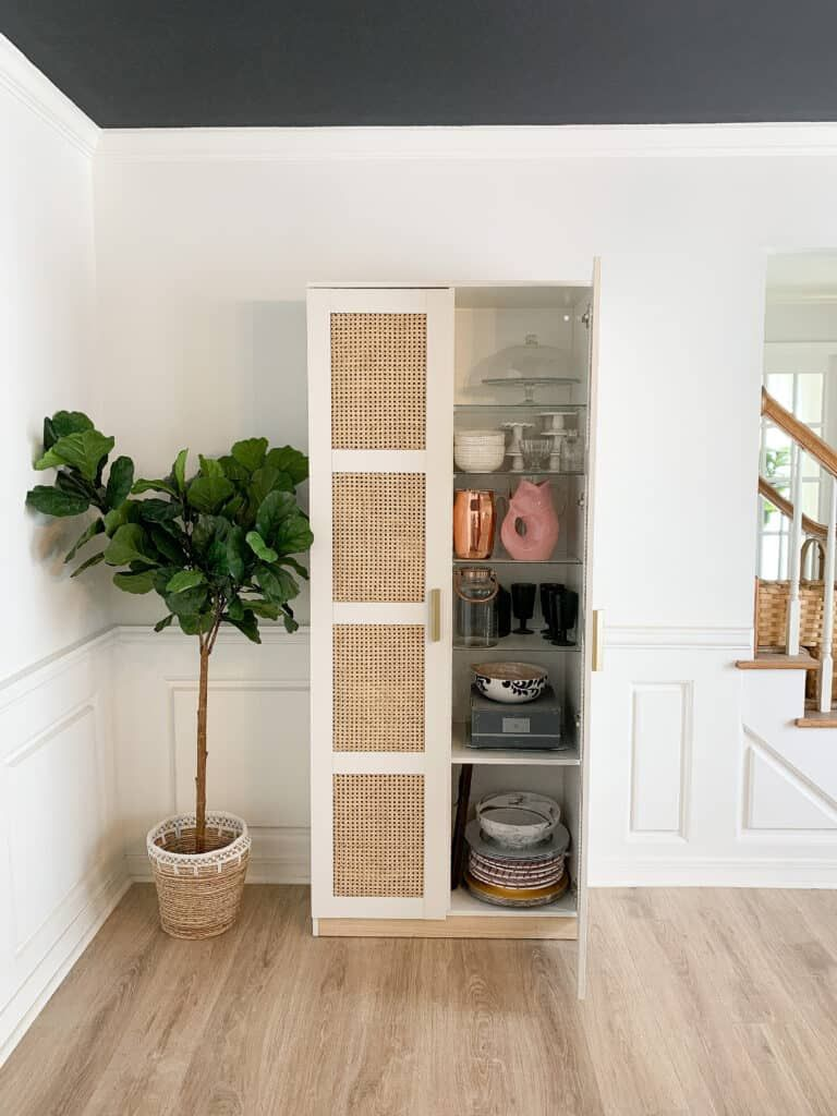 This DIY Cane IKEA Brimnes cabinet has been one of my favorite IKEA hack's yet. Check out this post for the how to on how to convert your IKEA Brimnes into a Serena and Lily knock off! #Ikeahack #Canedresser #ikeabrimnes