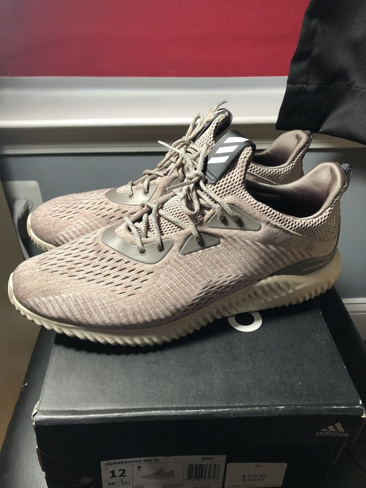 Adidas Alphabounce Em M Brown Tan Beige Size 12 Worn With Box