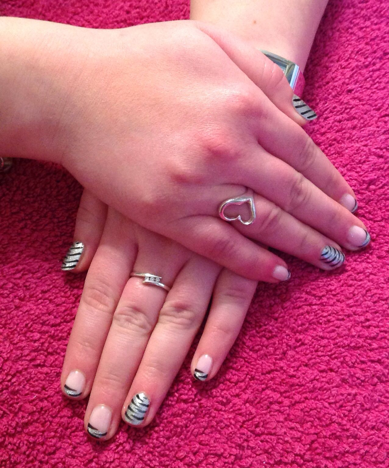 Silver Leopard Print with black ring fingers and thumbs | Simply ...