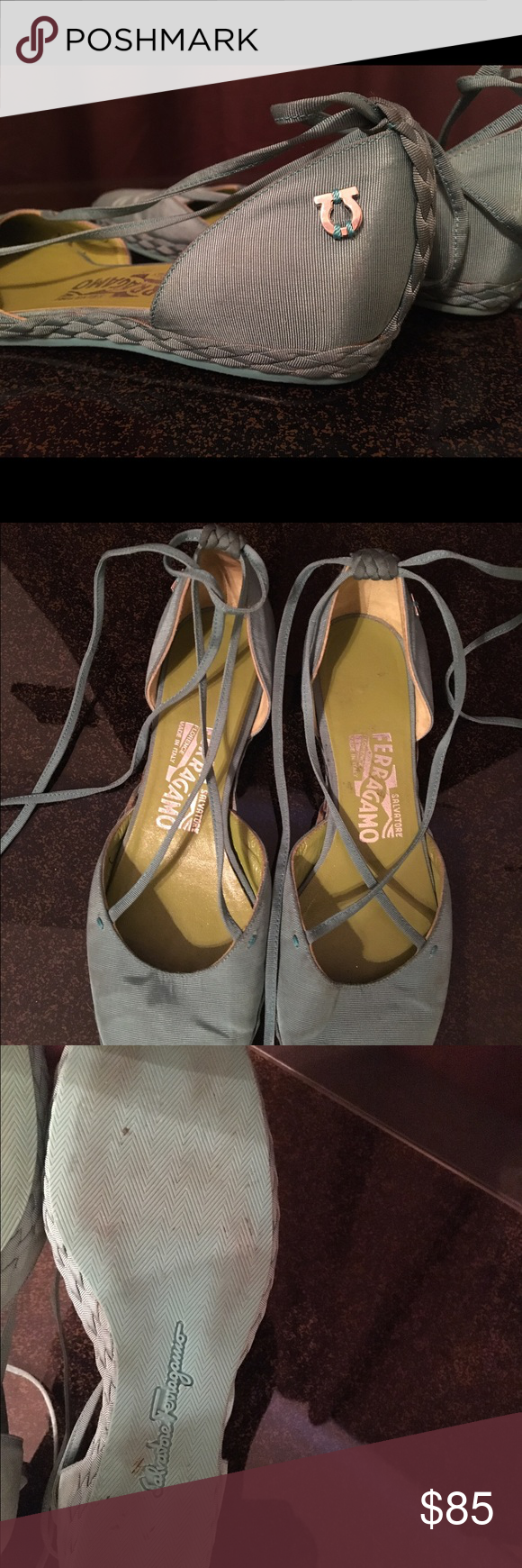 Salvatore Ferragamo lace up flats Reposh Salvatore Ferragamo lace up flats, these are made in Florence Italy and are absolutely gorgeous, I almost cried when I tried them on and they did not fit, true to size, stunning green hue color, pre-loved in great condition. Salvatore Ferragamo Shoes Flats & Loafers