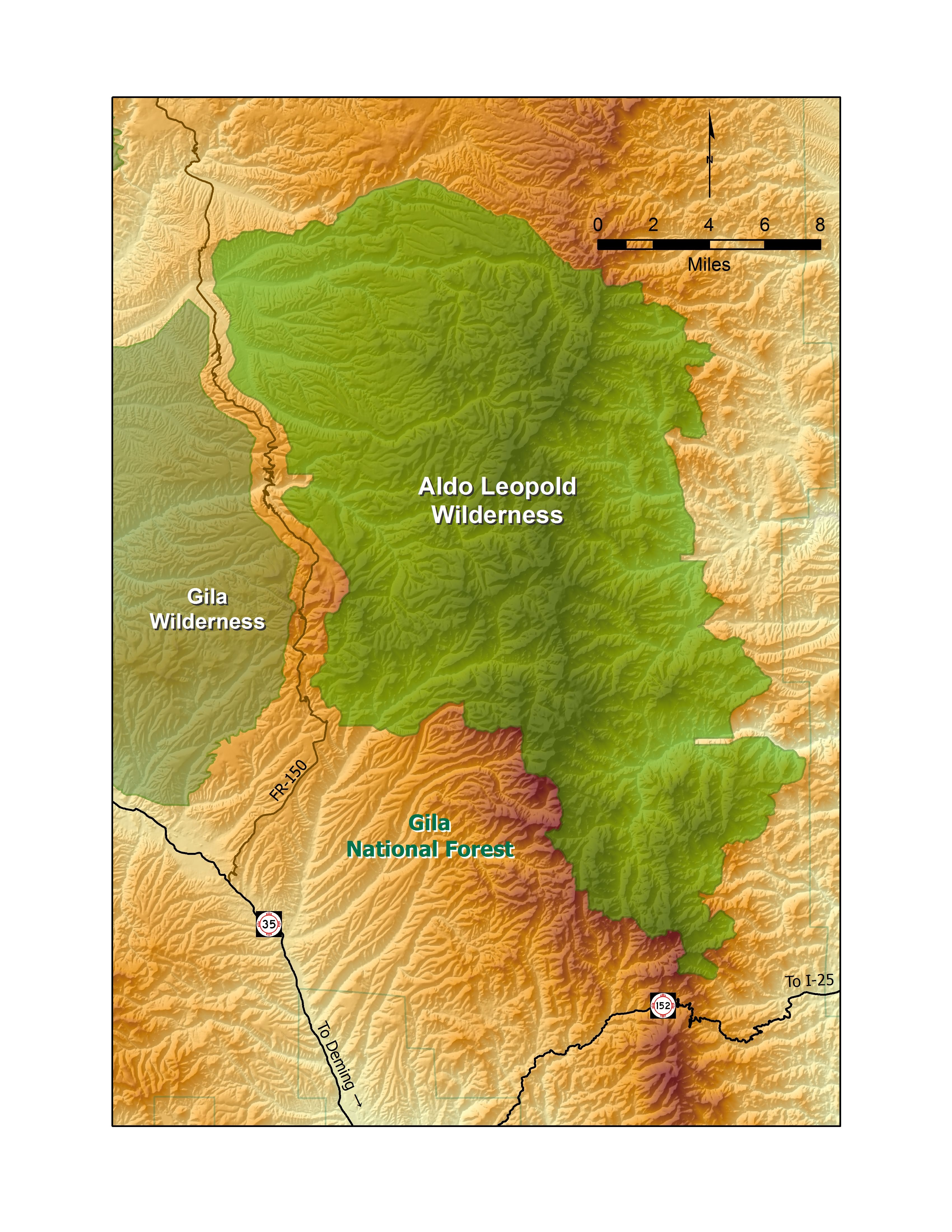 map of new mexicos aldo leopold wilderness this wilderness area borders americas first wilderness