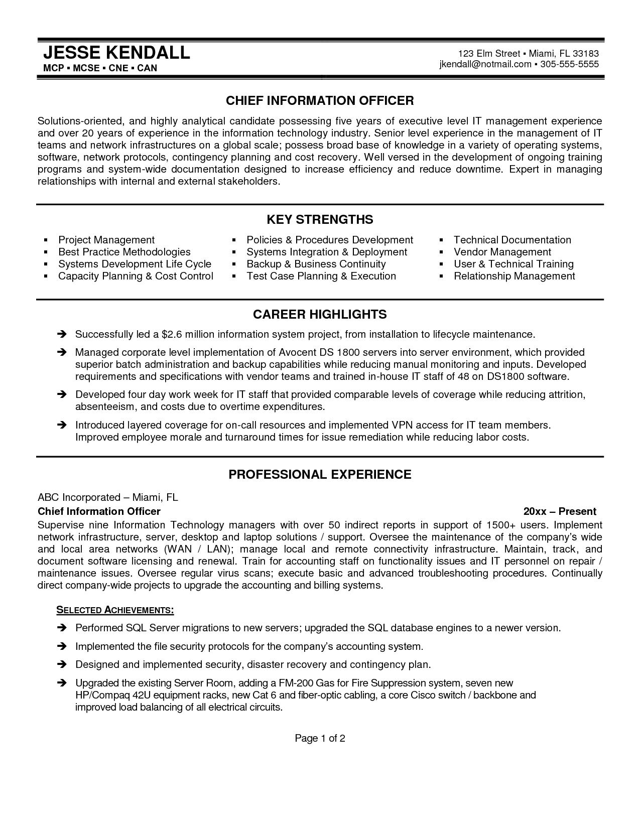 best resume cio resume formats
